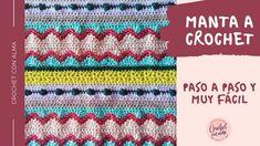 Hermosa manta multicolor y multi-puntada tejido a crochet. Mira como Arantxa - Crochet con alma te enseña paso paso como tejer esta bella manta en un Manta Crochet, Crochet Blankets, Bella, Ideas Para, Youtube, Crochet Bedspread, How To Knit, Bedspread, Youtubers