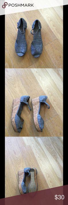 Tom's Wedge Sandals, Light Blue Denim, size 8 Tom's Denim Sandals worn once! Wedge heel, ankle strap. TOMS Shoes Wedges