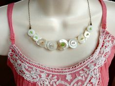 Precious in Pastel button necklace by lastingattachments on Etsy