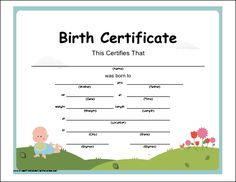 A whimsical birth certificate with a colorful illustration of a baby and flowers. Free to download and print