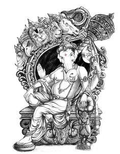 Selected in binsachivalay Ganesha Sketch, Shiva Sketch, Ganesha Drawing, Ganesha Tattoo, Lord Ganesha Paintings, Ganesha Art, Krishna Art, Hanuman Pics, Dancing Ganesha