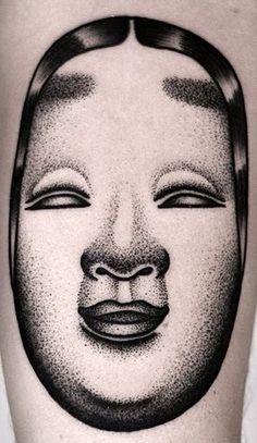 Japanese Theatre Geisha Mask, tattoo by Kamil Czapiga, tattoo art.