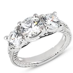 3 Stone Engagement Ring Mounting from Scoville Jewelers.