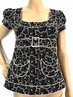 Nanette Lepore Black/Ivory Embroidered Belted Short Sleeved Jacket Size 0 - EUC #NanetteLepore #BasicJacket