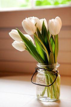 white tulips in a mason jar
