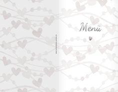wünderschöne Menükarten für die Hochzeit, Motiv mit Herzen