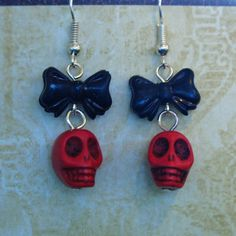 Day of the Dead Skull & Bow Earrings