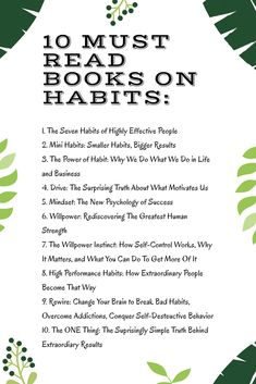 10 must read books on habits to change your life for the better. In the never-ending quest to improve ourselves, we sometimes need to take a step back and look at some things we need to let go. We need to take a look at the habits successful people avoid. Best Books To Read, Good Books, My Books, Books To Read In Your 20s, Best Self Help Books, Teen Books, Book Challenge, Reading Challenge, Reading Lists
