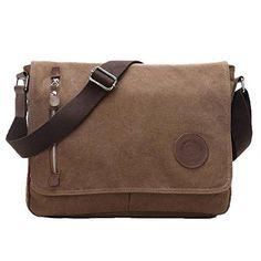Great Military Messenger Bag Canvas Leather Shoulder Bag Fits 13-14 inch Laptop