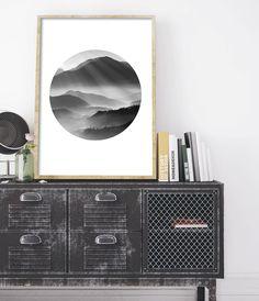Scandinavian Interior Decor, Nordic Interior Decor, Mountain Art, Mountain Print, Printable Scandinavian Poster, Affiche Scandinave, Scandinavian Print, Printable Art for Home, Modern Black and White Art. // Little Ink Empire on Etsy