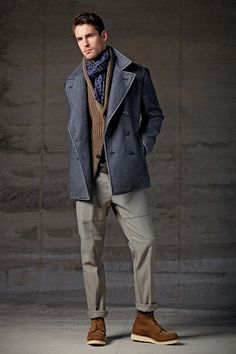 grey coat, brown pull, grey pants, brown shoes. gentleman style, men's fashion.