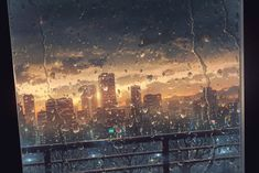 building city clouds cola_(gotouryouta) nobody original rain scenic sky sunset tree water View Wallpaper, Scenery Wallpaper, 1080p Wallpaper, Anime Backgrounds Wallpapers, Blue Wallpapers, Anime City, Creepy Facts, Japan Painting, Evening Sky
