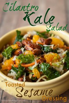 I love all the colors bursting in this salad -   Asian Kale Salad with Toasted Sesame Dressing #recipe