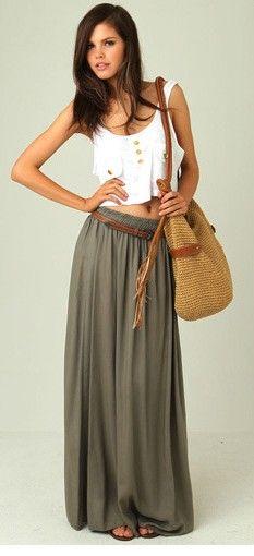 Khaki Maxi Skirt with white top