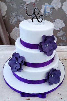 White and Cadbury purple wedding cake