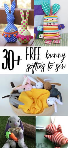 Check out over 30 free bunny softie sewing patterns. These are rabbit sewing tutorials and rabbit sewing patterns, all easy to make and perfect for handmade Easter basket ideas. Plushie Patterns, Animal Sewing Patterns, Easy Sewing Patterns, Pattern Sewing, Sewing Stuffed Animals, Stuffed Animal Patterns, Rabbit Toys, Bunny Toys, Bunnies