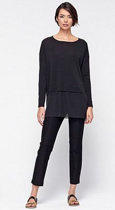Love this...Eileen Fisher Bateau Neck Boxy Tunic in Black