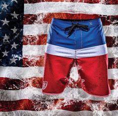 Red, White and Blue! USA Hurley Boardshorts @Hurley @Texas Ski Ranch TSR