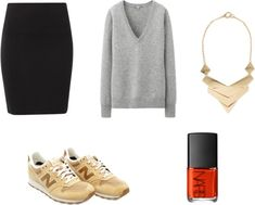 Sneakers at the office with pencil skirt