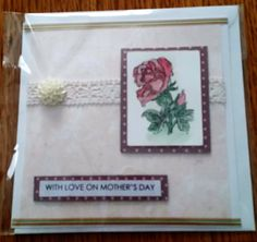 """Hand-painted 6"""" x 6"""" Mother's Day Card - red rose by Prettythings20 on Etsy"""