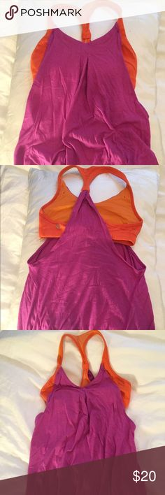 Lululemon workout top Orange bra with attached pink flowy top. Loose fitting in torso but elastic around the bottom to stay in place during a workout. Gently used but in perfect condition. Practice freely top. lululemon athletica Tops Tank Tops