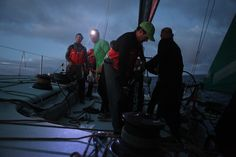 Leg 8 - Day 3 - The crew on the deck of Groupama 4 / Credits : Yann Riou