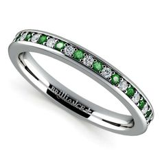 Emeralds for Success, Diamonds for Forever‬: Wear the new Pave‬ Diamond and  Emerald Gemstone Ring in White Gold for fresh, colourful wedding (and happily ever after) sparkle and a dash of legendary luck! ;) http://www.brilliance.com/wedding-rings/pave-diamond-emerald-band-white-gold