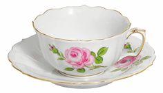 """Tazza da tè c/piatto, Forma """"Nuovo Ritaglio"""", Rosa centrale, policroma, bordo oro, v 0,20 l"""