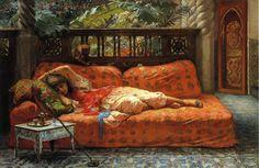 The Siesta, Oil On Canvas by Frederick Arthur Bridgman (1847-1928, United States)