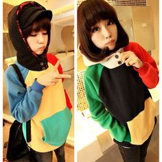 Sudadera colores/patchwork hoodie wh034