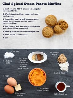 """Chai Spice Sweet Potato Muffins - Can also sub in pureed pumpkin. The tumbler blog """"Made Weekly"""" that this comes from is worth a follow."""