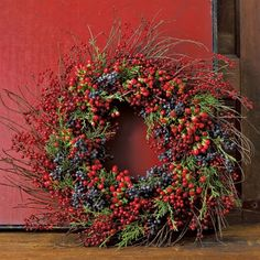 Add berries and evergreen branches; Hugs and Keepsakes: AUTUMN INSPIRATIONS=FALL PORCHES, MANTLES & WREATHS
