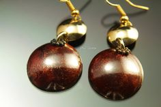 Red Patina Copper and brass earrings disk earrings red by dlcgems
