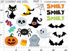 Halloween Elements Clipart and digital paper by pixelpaperprints