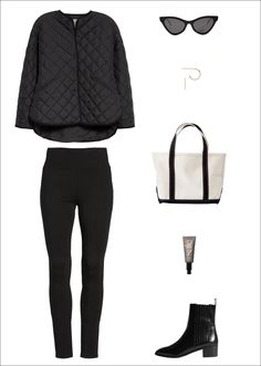 Le Fashion: A Stylish Yet Comfortable Outfit for Running Errands —Fall Weekend Look With a Toteme Quilted Jacket, Gucci Cat-Eye Sunglasses, Small Hoop Earrings, L.L. Bean Tote Bag, Black Leggings, Saie Tinted Moisturizer and Aeyde Chelsea Boots