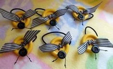 Items similar to Button My Bee.Pony Tail Holder on Etsy Bee Crafts, Crafts To Do, Crafts For Kids, Paper Crafts, Button Art, Button Crafts, Shower Favors, Party Favors, Shower Invitations