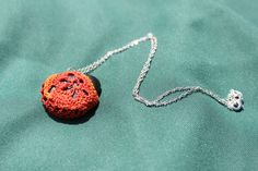 One of a Kind funky orange pendant crochet necklace by FuchsiaFoxStudio on Etsy