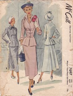 1940s Misses 2 Piece Suit Fitted Bodice with by KinfolkWearableArt, $20.00