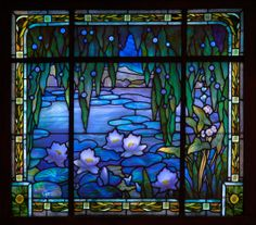 Lily Pond Window, circa 1912, Jacques Gruber, French, stained and leaded glass