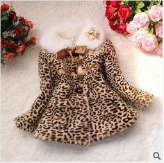 Девушки леопардовым узором пальто зима меховой воротник куртки ватные дети верхняя одежда леопардовые пальто и куртки для детей