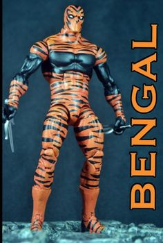 this is a marvel legends Bengal Custom Action Figure he was made by figure realmer eddiegrayce's custom he used a wwe elite body, moon knight head, human torch boots, and Elektra sai happy pinning Wwe Elite, Human Torch, Marvel Villains, Moon Knight, Marvel Legends Series, How To Make Comics, Top Toys, Custom Action Figures, Bengal
