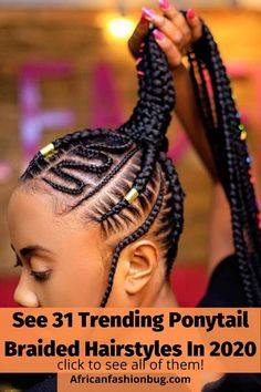 See the trending ponytail braided hairstyles for black women in 2020. #ponytailbraids #braidedhairstyles Mens Braids Hairstyles, Cute Simple Hairstyles, Twist Braid Hairstyles, Braided Hairstyles For Black Women, Braided Hairstyles Tutorials, New Braid Styles, Hair Styles, Natural Hair Tutorials, Simple Ponytails