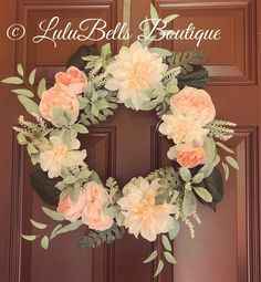 The perfect pink and green wreath! #wreath #spring #peonies #greenery #farmhouse #homedecor #homemade #etsy