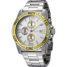 I By Invicta Men's 41690-003 Chronograph Stainless Steel Watch Invicta. Save 86 Off!. $64.95. Precise Japanese-quartz movement. Durable mineral crystal; brushed and polished stainless steel case and bracelet. Chronograph functions with 60 second, 60 minute and 1/10th of a second sub dials; date function. Silver textured dial with luminous hands, hour markers and arabic numerals; yellow unidirectional bezel and two yellow outlined sub dials; red second hand. Water-resistant ...
