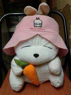 "Mashimaro plush 2 faced Bunny & Puppy dog 14"" tall stitched eyes carrot rare"
