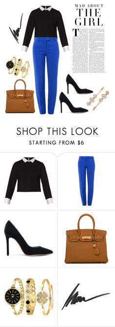 """Mad About The Girl"" by tfashionspeaks ❤ liked on Polyvore featuring Maje, Boutique Moschino, Gianvito Rossi, Hermès, Kershaw, Max Factor, Henri Bendel, womenfashion and fashionset"