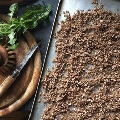 Dandelion coffee in 5 easy steps: Dig up roots. Wash and scrub roots. Blitz roots till they look like brown rice (photo). Dry them out in oven at 100c for 1 hour. Turn oven up to 150c and roast roots for 1hr/1.10hr till dark brown and nutty. Use like coffee - I like to grind mine in a coffee grinder and make it on the stovetop. @infant_art_club x by cocoinmykitchen
