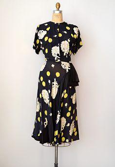 vintage 1940s sheer floral dress