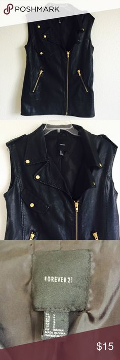 • Faux Leather Vest • Gold details have some signs of wear. Bust measures 19 inches. Length is 26 inches. Asymmetrical zipper. Oversized look. Forever 21 Jackets & Coats Vests