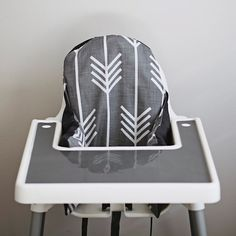 Charcoal Grey Arrows IKEA highchair cushion cover - definitely an improvement from IKEA's red and blue striped one!